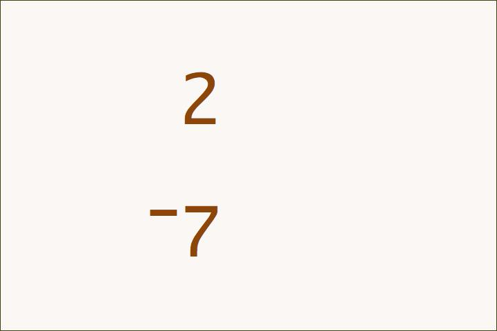 2–7=–5