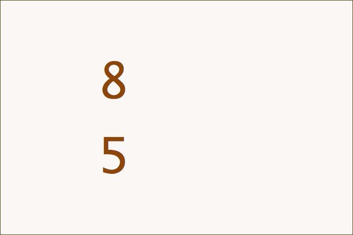 8+5=13